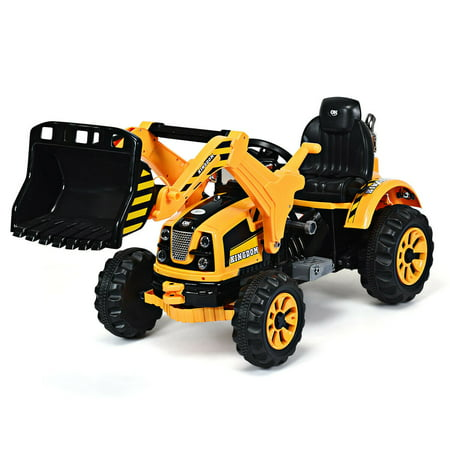 Costway 12V Battery Powered Kids Ride On Excavator Truck With Front Loader Digger Yellow - Power Loader Halloween