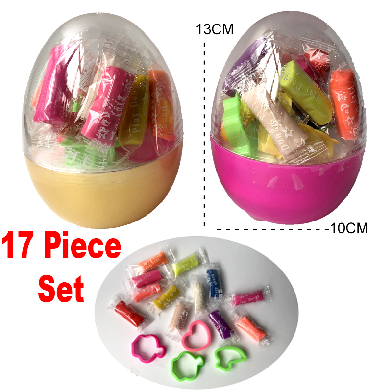 (17 Piece Set) Easter Egg Doh Modeling Clay Kids Play Set Magic Air Dry Dough Colorful Activity Craft Creativity Toy 1 Egg