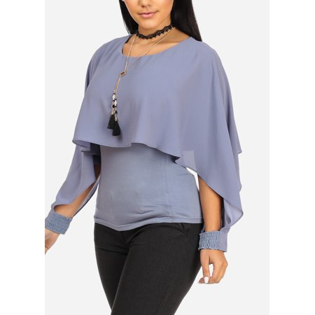 Womens Juniors Sexy Party Elastic Cuffs Long Sleeve Round Neckline Chambray Top W Choker Necklace Included 40577R