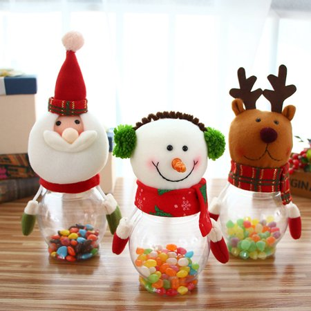 (Heepo Home Party Decor Christmas Santa Sweets Candy Jar Filler Storage Bottle Gift)