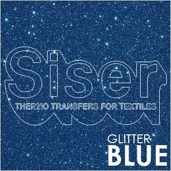 SISER Glitter Blue Iron On Letter Heat Transfer Vinyl HTV Contact Paper Decal Roll (Choose Your Size)