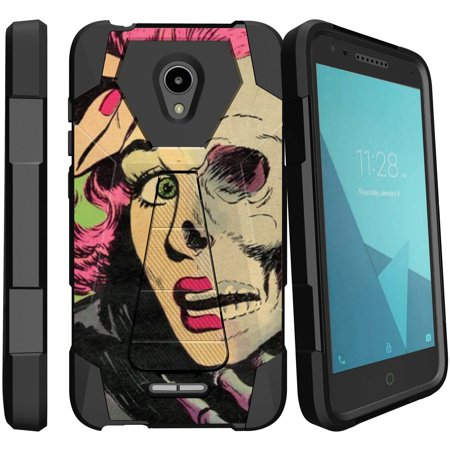 IdealXcite & Alcatel Raven LTE Retro Kickstand Case [Hybrid Design Case for Alcatel IdealXcite / Raven LTE ] Rockabilly Zombie Girl Design Case for Alcatel IdealXcite / Raven LTE - - Rosemary Zombie Girl
