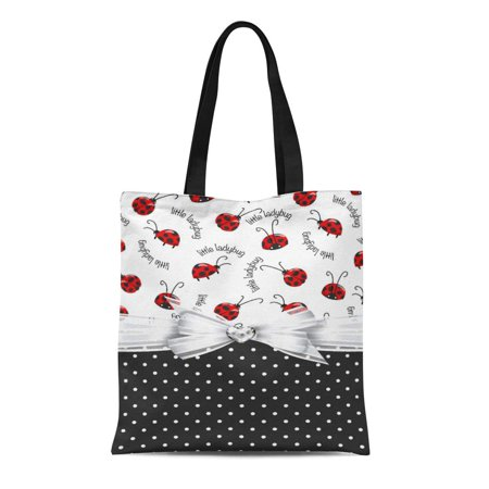 LADDKE Canvas Tote Bag Red Lady Little Ladybugs Bug Polka Dots Buy Ladybirds Reusable Handbag Shoulder Grocery Shopping Bags