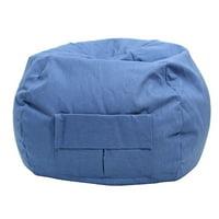 "Large 128"" Pink Denim Look Bean Bag with Cargo Pocket"