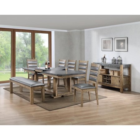 Benzara Multifunctional Wooden Dining Table In Grey And Brown