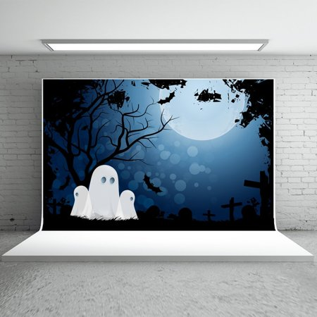 HelloDecor Polyster 7x5ft Halloween Photo Backdrops Black Bats Boneyard White Ghost for Halloween Party Photography Backgrounds S (Bts Halloween Photos)