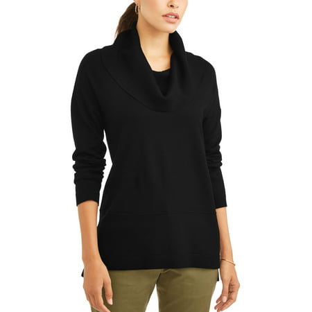 Scrunch Neck Sweater - Women's Cowl Neck Tunic Sweater