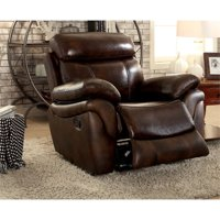 Furniture of America Roberto Transitional Recliner Chair in Brown
