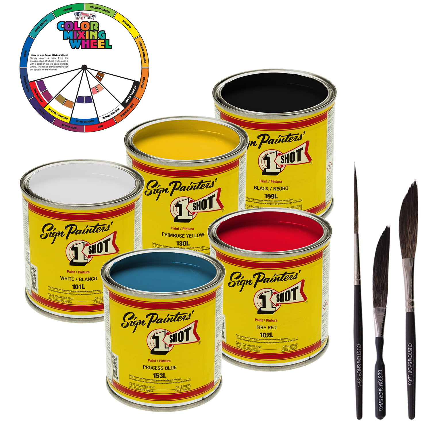 1/4 Pint 1 Shot STARTER Enamel Kit 5 COLOR SET Pinstriping Lettering Graphic