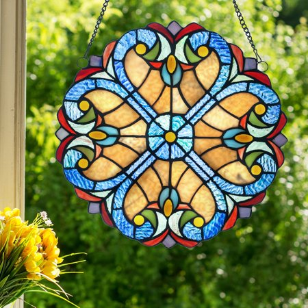 River of Goods Halston Stained Glass Window Panel (Stained Glass Supply)