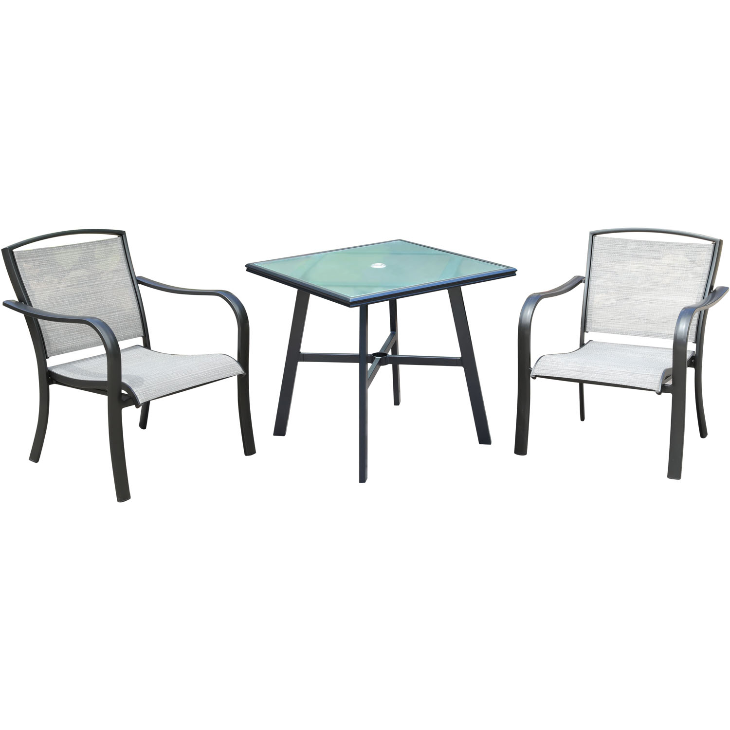 Picture of: Hanover Foxhill 3 Piece Commercial Grade Bistro Set With 2 Sling Dining Chairs And A 30 Square Glass Top Table Walmart Com Walmart Com