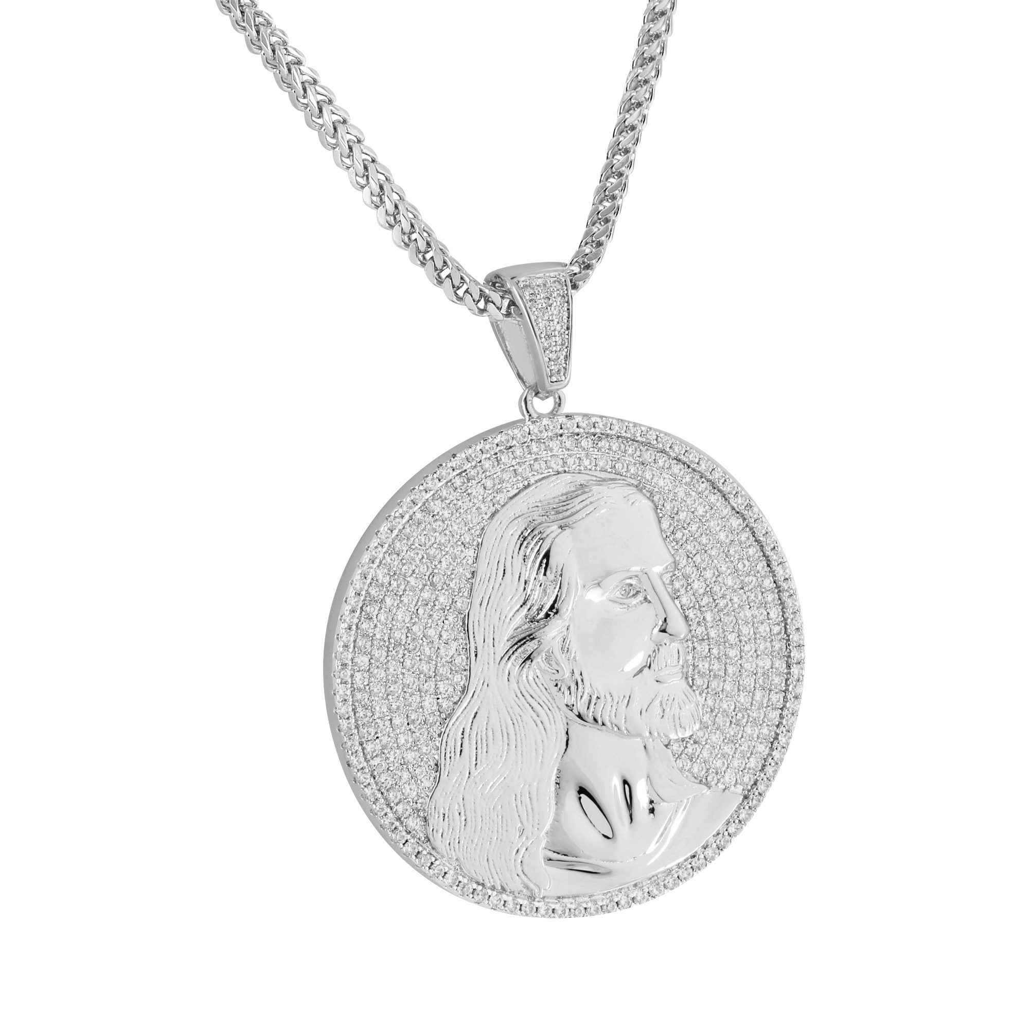 Jesus Face Coin Pendant Designer Lab Created Cubic Zircon...