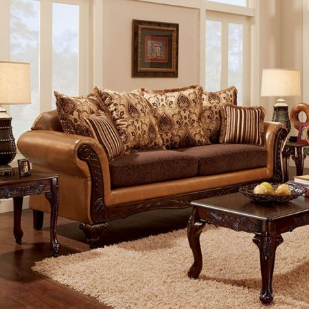 Elegant Sofa Traditional Style, Camel Brown ()