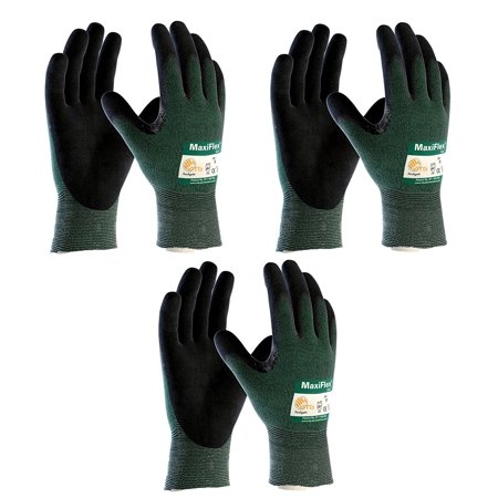 3 Pack MaxiFlex Cut 34-8743 Cut Resistant Nitrile Coated Work Gloves with Green Knit Shell and Premium Nitrile Coated Micro-Foam Grip on Palm & Fingers. Sizes S-XL (Large) (Work Gloves With Grip)