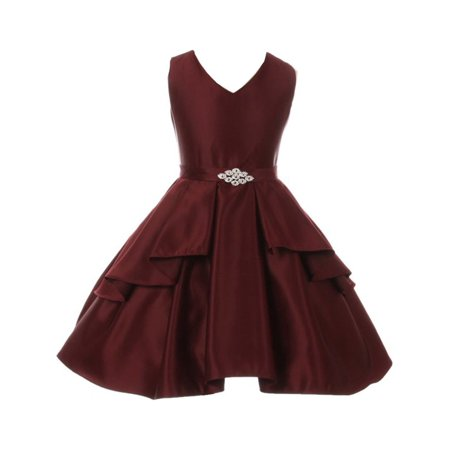 Brooches For Dresses - Good Girl Girls Burgundy Dull Satin Brooch Junior Bridesmaid Dress
