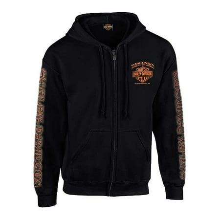 Harley-Davidson Men's Eagle Piston Long Sleeve Full-Zip Hoodie, Black 30299950, Harley Davidson