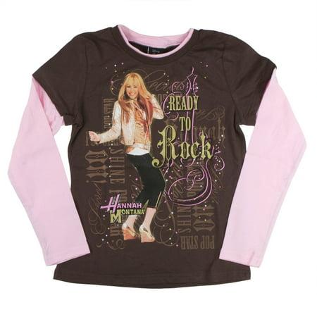 Hannah Montana - Ready To Rock Girls Youth 2fer Long Sleeve T-Shirt