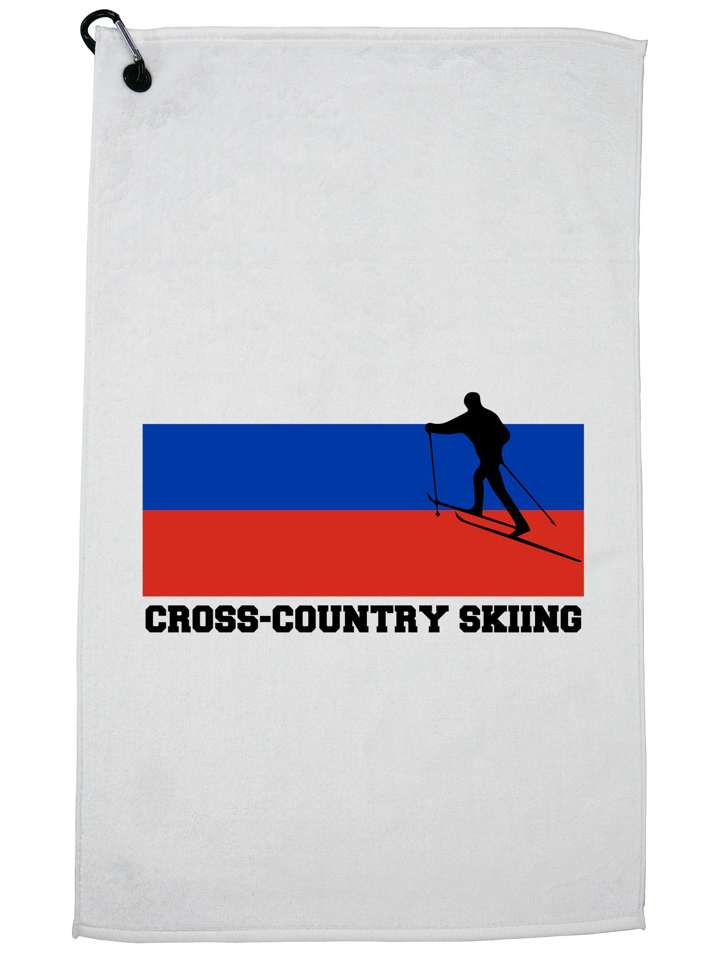 Russia Olympic Cross-Country Skiing Flag Silhouette Golf Towel with Carabiner Clip by Hollywood Thread