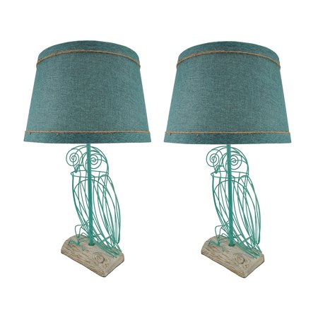 Pair of Turquoise Blue Wire Owl Table Lamps with Linen Shades