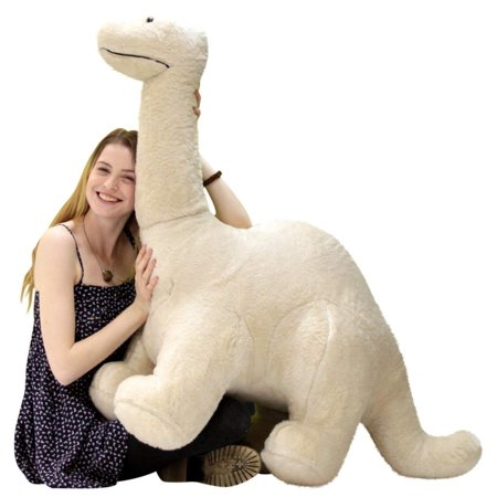 American Made Big Plush Papa Dinosaur, Soft Giant Stuffed Brontosaurus 4 Feet Long 3 Feet Tall Made in USA ()