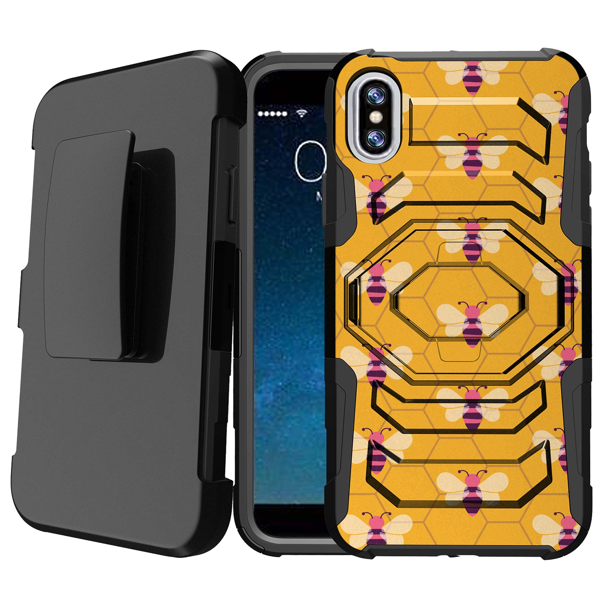 iPhone X Shock-Resistant Case [Armor Reloaded][Anti-Scratch] Rugged Holster and Locking Kickstand Case for iPhone X [Hard Shell iPhone X Case] - Honeycomb Bees