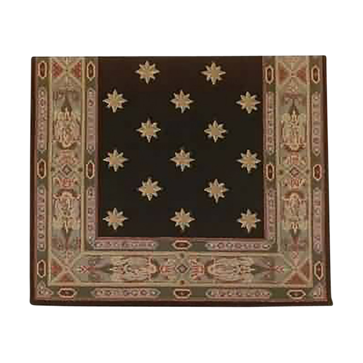 "Rectangular Area Rug 8' 3"" x  3' 3"" Green Wool 