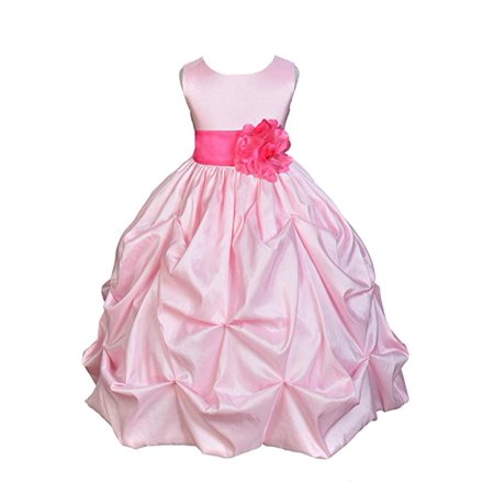 - Ekidsbridal Pink Satin Taffeta Pick-Up Bubble Flower Girl Dress Birthday Girl Dress Princess Dresses Ballroom Gown Special Occasion Dresses Easter Summer Dresses Pageant Gown Daily Dresses 301S