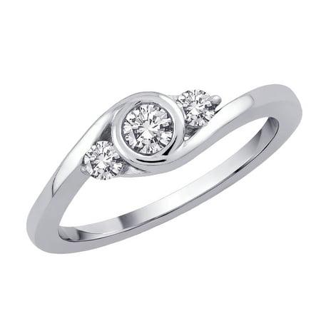 1/3 Ct Tw Ring - 3 Diamond Promise Ring in 14K White Gold (1/3 cttw)
