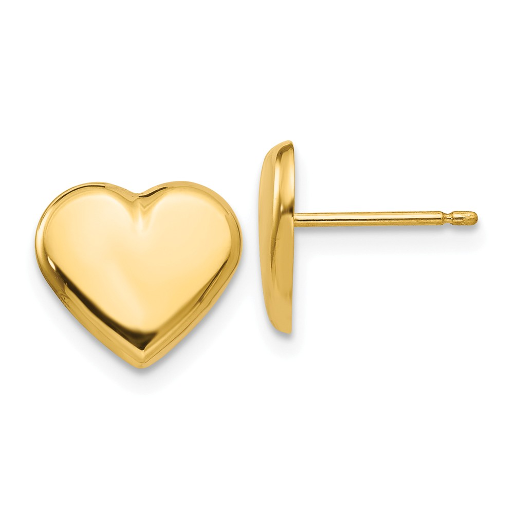 14k Yellow Gold Heart Post Stud Earrings (9MM Long x 10MM Wide)
