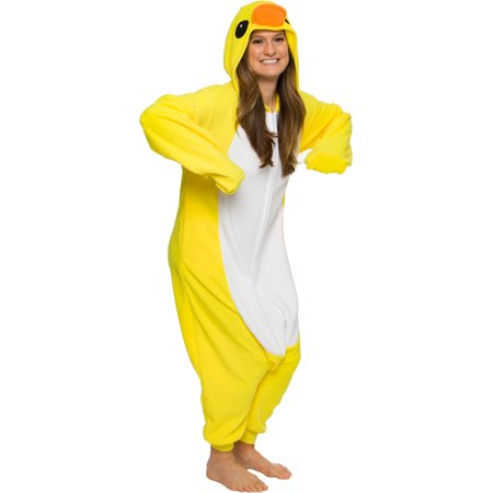 Dick Halloween Costumes (Duck Costume Pajamas - Unisex Adult One Piece Halloween Animal Jumpsuit - Silver Lilly (Yellow,)