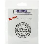 "IndigoBlu Cling Mounted Stamp 4""X3""-Merry Christmas Circle-Dinkie"