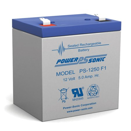 Power Sonic PS1250F1 PS-1250 12 Volt 5 aH Sealed Lead Acid Battery