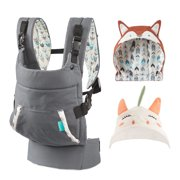 Infantino Cuddle Up Soft Hoodie Baby Front & Hip Carrier - Gray - Fox & Unicorn Bundle Pack
