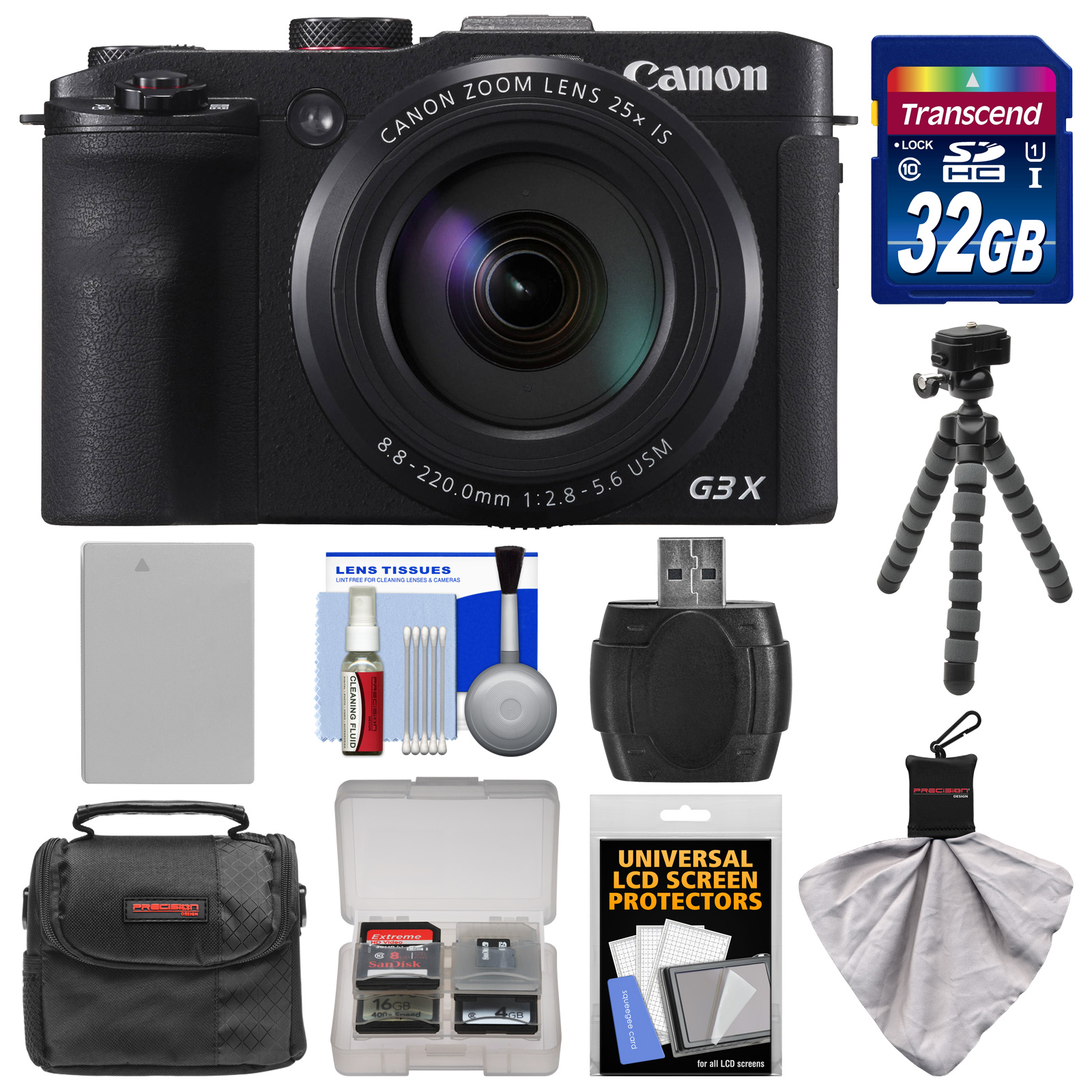 Canon PowerShot G3 X Wi-Fi Digital Camera with 32GB Card   Battery   Case   Flex Tripod   Kit