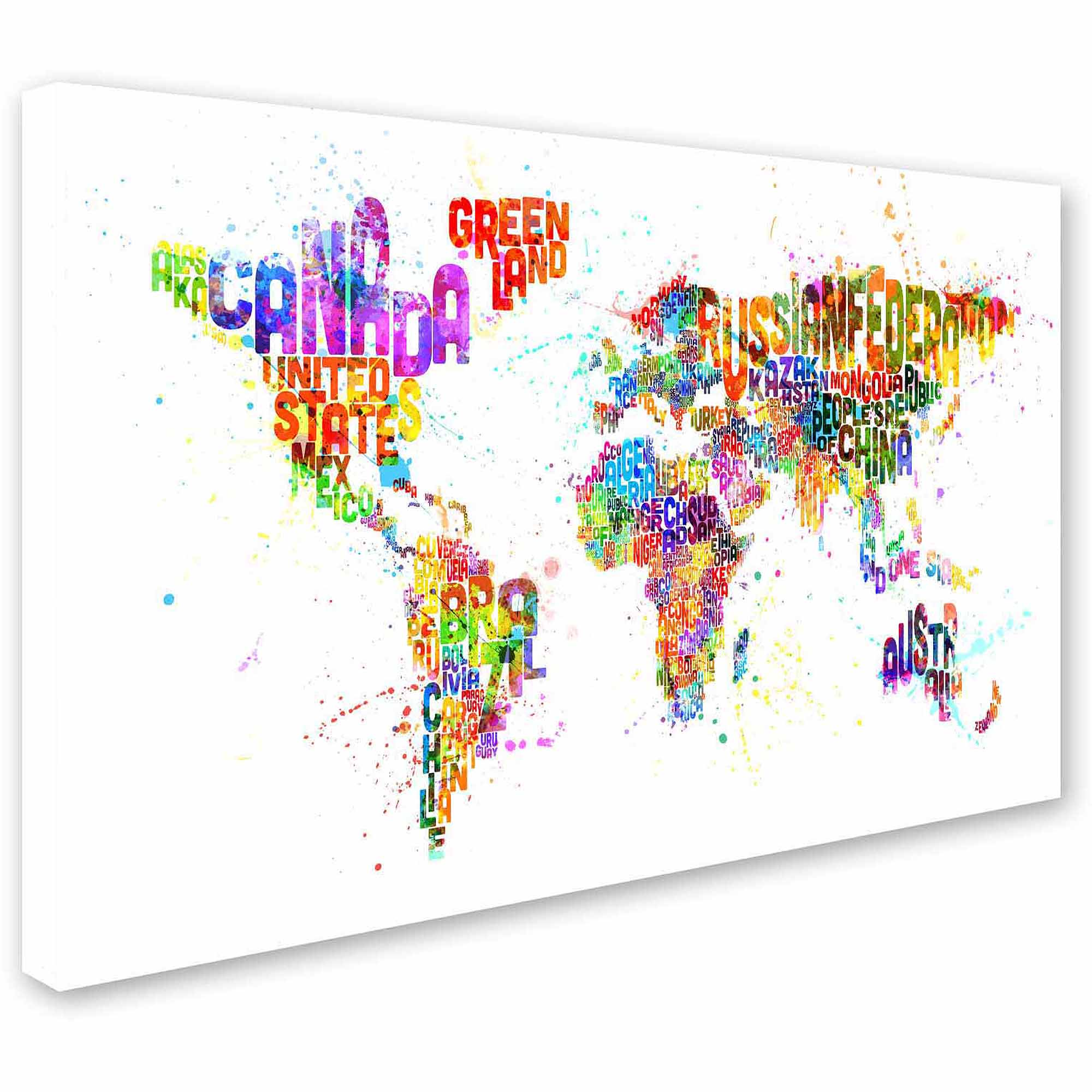 "Trademark Fine Art ""Text Map of the World III"" Canvas Art by Michael Tompsett"