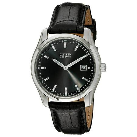 Citizen AU1040-08E Men's Eco Drive Black Dial Leather Strap Watch Eco Drive Leather Strap