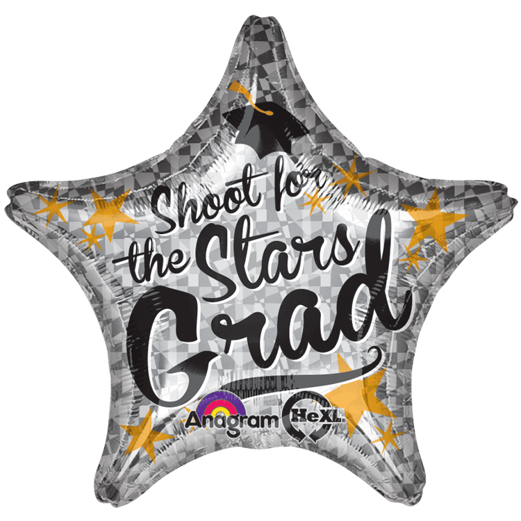"Anagram Shoot for the Stars Grad Star Shape 19"" Foil Balloon, Silver Gold"