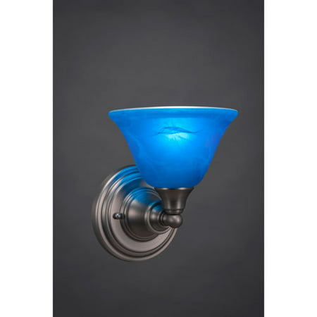 Brushed Nickel Wall Sconce with Blue Italian Crystal Glass