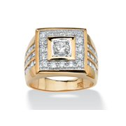 Men's 2.18 TCW Round Cubic Zirconia 18k Gold Yellow over Sterling Silver Bezel-Set Square Ring