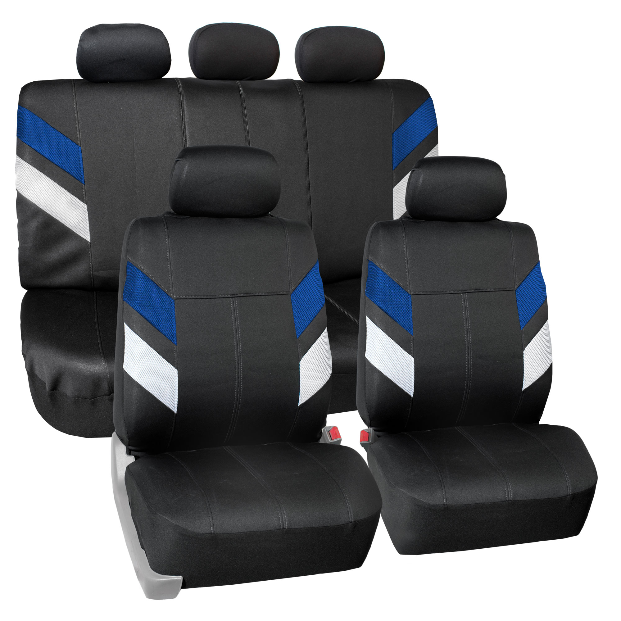 FH Group Modern Edge Waterproof Durable Neoprene Full Set Seat Covers, Blue