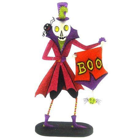 Halloween BOOVILLE SKELETON Resin/Metal Spiders Boo Sign 68421 (Halloween Boo Signs)
