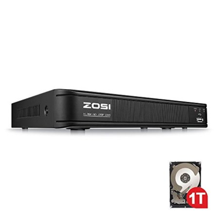 ZOSI 720p 8 Channel HD-TVI 1080P Lite Video Surveillance DVR Recorders with Hard Drive 1TB, P2P Technology, QR Code Scan Remote Access,Motion Detection,Hybrid Capability (Hard Drive Tv Recorders)