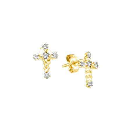 14k Yellow Gold Round Diamond Cross Faith Earrings (1/20 Cttw)