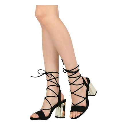 6f1dab1571f Women Faux Suede Open Toe Lace Up Metallic Block Heel Sandal GI16 -  Walmart.com