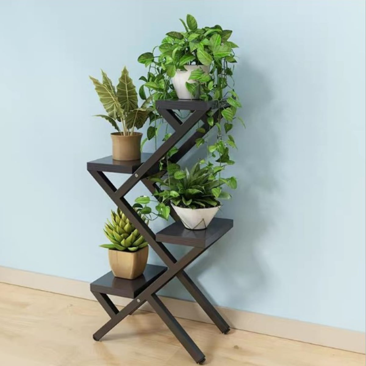 4 5 Tier Plant Stand Indoor Outdoor Metal Plant Display Flower Shelves Stands Garden Plant Shelf Rack Holder Organizer For Corner Living Room Balcony Patio Yard Walmart Com Walmart Com