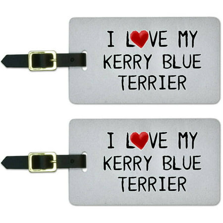 I Love My Kerry Blue Terrier Written on Paper Luggage Suitcase ID Tags, Set of 2