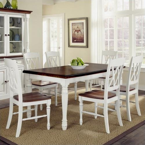 Home Styles Monarch 7 Piece Dining Table Set with 6 Double X-Back Chairs - White & Oak