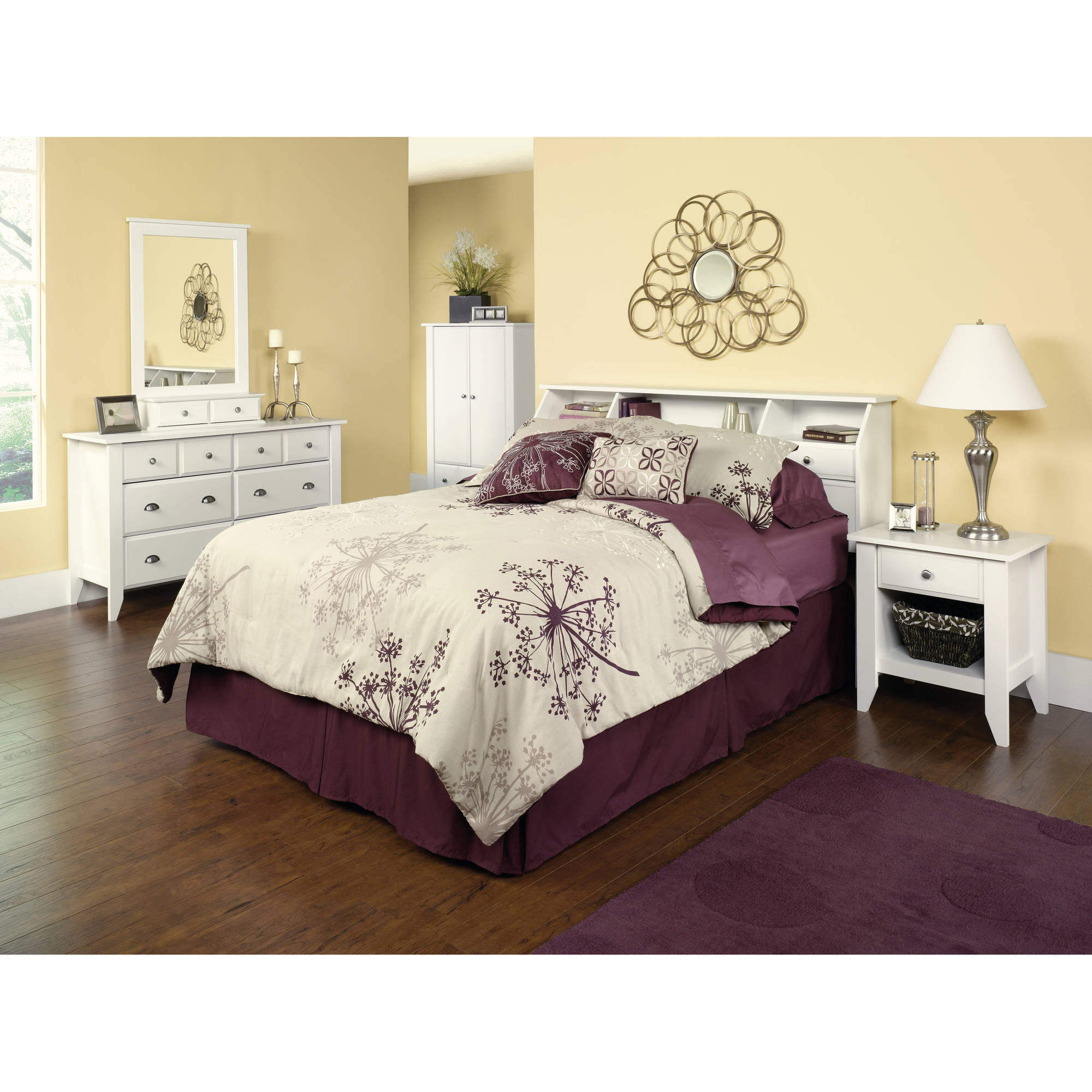 Storage bedroom furniture white full queen headboard for Furniture board