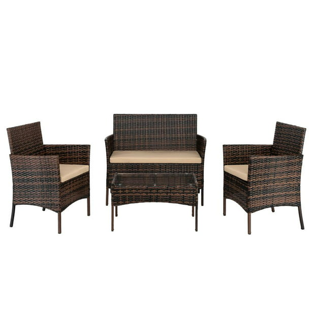 Zimtown 4 PCS Outdoor Patio Furniture Brown PE Rattan Wicker Table and Chairs Set