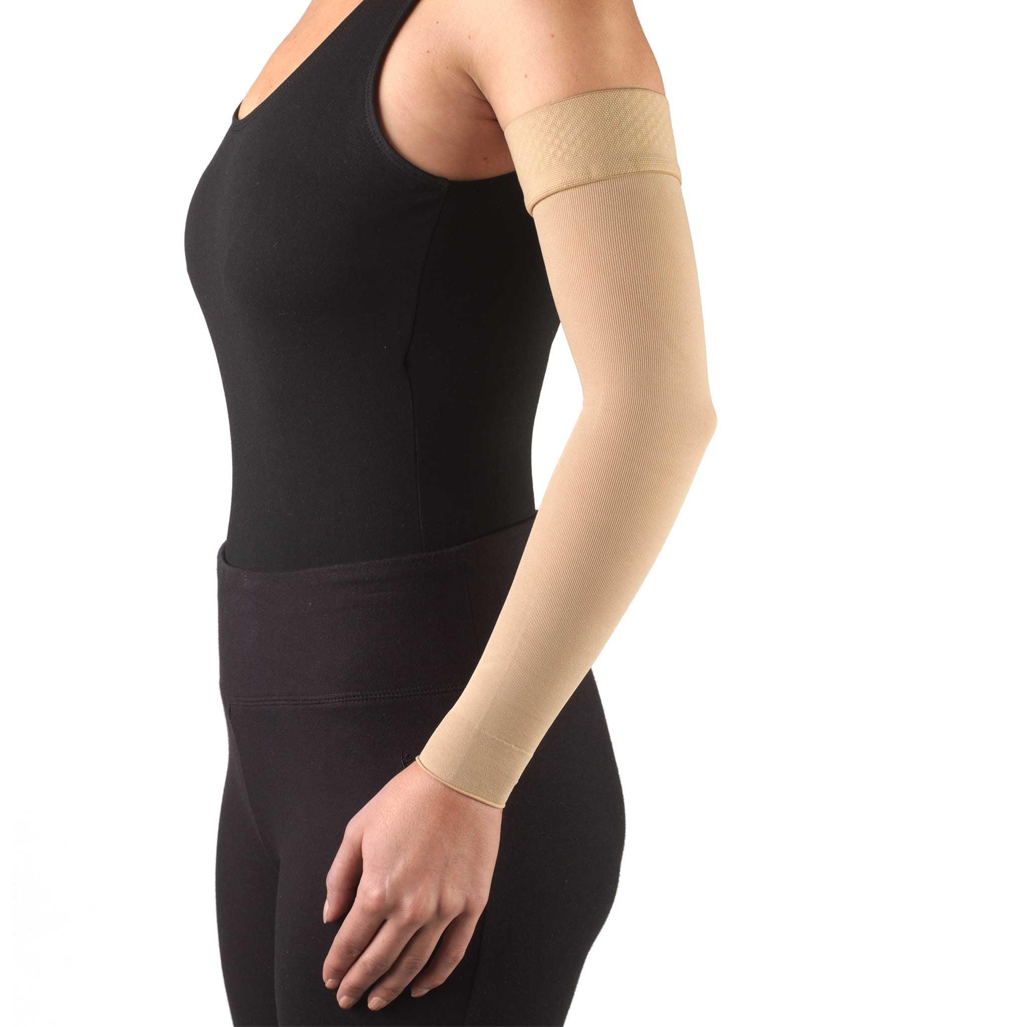 Truform Lymphedema Compression Arm Sleeve, Dot Top: 20-30 mmHg, Black, Small